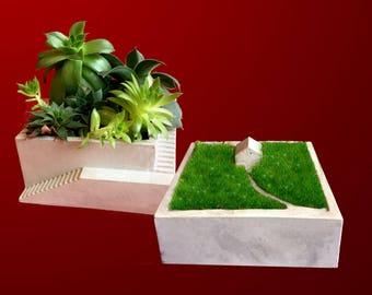Architectural Concrete Planters Set of 2