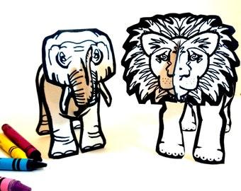 Lion Elephant Africa Safari Set of Two - Printable Toys