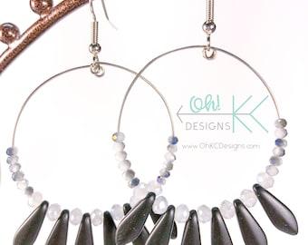 EarringsBlack and silver daggar beaded hoop earrings