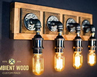 Pipe barn wood Industrial Bathroom Vanity Light Fixture Bar Light