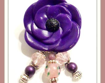 Brooch Fleur Violette polymer clay and its pink and purple beads