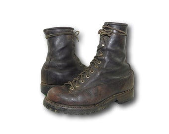 Vintage 50's SEARS WEARMASTER Oil Tanned Leather Monkey Ankle Work Boots 9-9.5