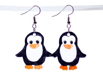 Penguin Earrings or Necklace or Key Chain
