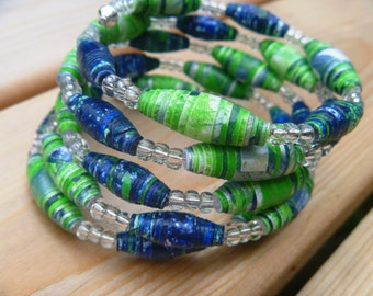 Seattle Seahawks FREE SHIPPING  Painted Paper Bead Coil Bracelet green & blue  #B013 marlisa