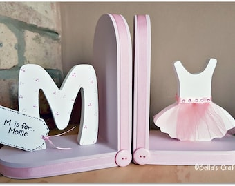Personalised Ballet dress Bookends with initial for children. Set of 2 bookends, one with an initial another one with a ballerina dress.