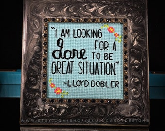 Mini Black & Silver Marbled Framed Cross Stitch - Say Anything - Lloyd Dobler - I Am Looking For A Dare To Be Great Situation