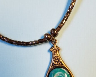 1990's gold and teal necklace