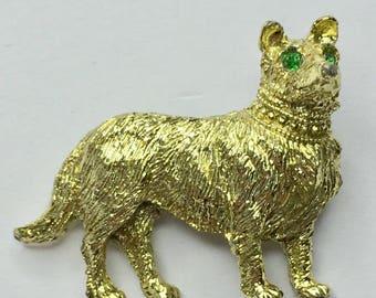Vintage NEMO Gold Tone Dog Brooch Pin Rhinestone Green Eyes Signed NEMO, Scatter Pins, Vintage Pins, Vintage Brooch, Brooches