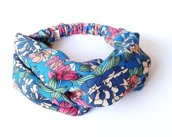 Headband headband turban hair woman chiffon blue floral multicolor