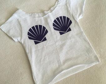 Baby Toddler Girls Mermaid Costume Shell Top T Shirt 6 12 18 24 2 2T 3T 4T 5 6 White Tee Purple Shells Leggings sold separately Birthday