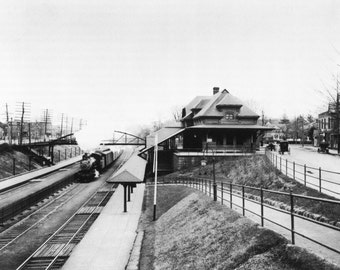 NEWTON, MA Newtonville North Side Train Station in 1910 - Vintage Photo Print, Ready to Frame!