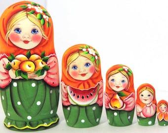 Nesting doll Masha with fruits handmade matryoshka