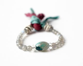 Labradorite and silk wrap bracelet, bohemian wrap bracelet, gemstone wrap bracelet, ribbon wrap bracelet, agate bracelet