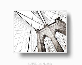Brooklyn bridge print, Black and White New York Poster print, New York  Brooklyn Bridge Print, NYC printable Download, Brooklyn Print