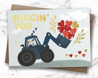Anniversary card, wedding card, tractor love card, tractor card for couple, gold foil card, love card