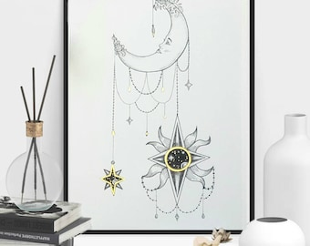 Framed Hanging Sun with Female Moon and a Galaxy Celestial Bohemian Drawing Art Print