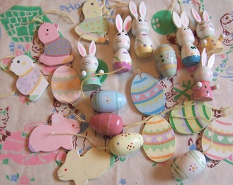 cute pastels wooden eggs, bunnies, and chicks