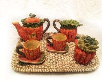 Cute Miniature Tea Set With Carrots Vegetable Garden Design 10 Piece Teapot