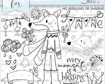 Fox Stamps, Digi Stamp, Digital Image, Fox Digistamp, COMMERCIAL USE, Every Moment is a Blessing, Coloring Page, Fox Stamp, Party Stamps