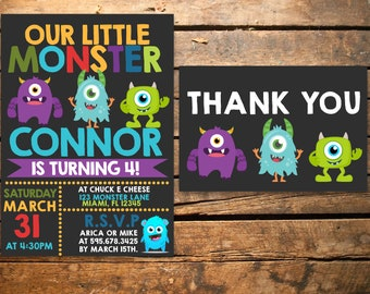 Monsters 5x7 Invite w/ 4x6 Thank you card