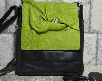 Dragon Purse With Face Small Messenger Bag Expandable Cross Body Monster Green Black Leather 440