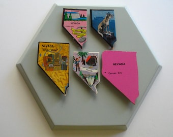 Set of 5 Nevada State Magnets-Vintage Puzzle Pieces
