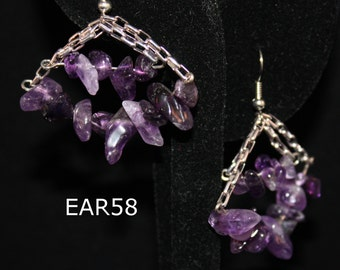 Amethyst chip earrings; amethyst chips earring; amethyst and silver chain earrings; gem chip earrings; gem and silver chain earrings