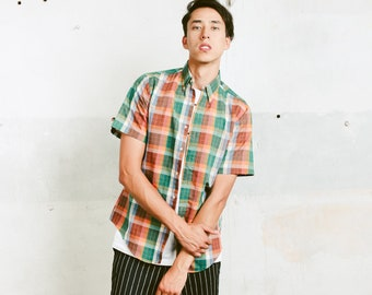 Vintage Plaid Shirt . Men's Retro 90s Shirt Unisex Oxford Shirt Colorful Summer Top Boyfriend Gift Hipster Mens 90s Clothing . size Small S