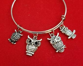 Silver Owl Themed Charm Bracelet