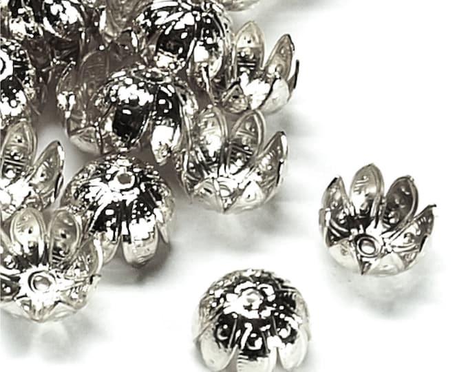 CLOSEOUT - Bead Cap, 10mm, Rhodium - 50 Pieces (BCBRP-05)