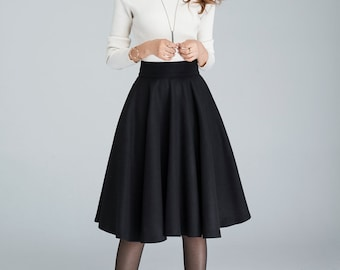 Wool circle skirt, black skirt, pleated skirt, knee length skirt, winter skirt, womens skirts, mini skirt, classic skirt, made to order 1633