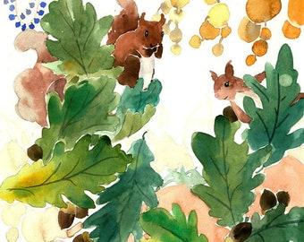 Squirrel Painting, Squirrel Watercolor, Squirrel Print, Squirrel Art, Squirrel Nursery