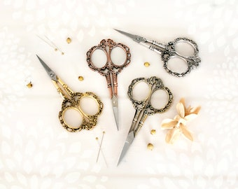 Floral Embroidery Scissors - Small Flower Scissors- Rose Gold Shears - Rose Gold Scissors - Vintage Style Scissors - Gold Vintage Snips