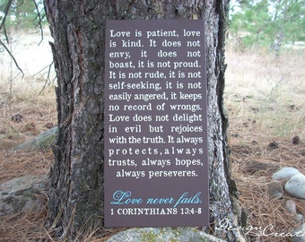 Custom Sign - LOVE IS PATIENT, love never fails sign - large wood sign, Bible verse, scripture sign, subway, Christian sign