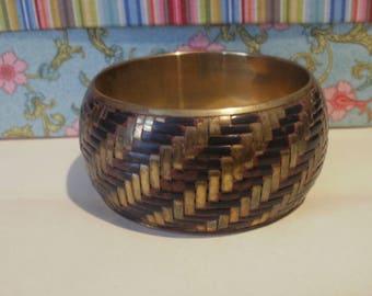Bangle - vintage brass bangle - gold weave herringbone style bangle - boho hippy chic bracelet *FREE SHIPPING on 2nd item* birthday gift