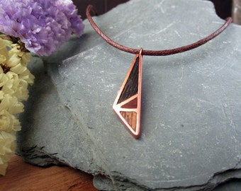 Geometric Copper Wood Necklace for Men and Women. Geometric Necklace, Handmade Copper Wood Jewelry, Pendant for Men and Women