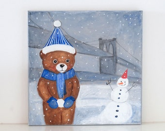 Making a Snowman-Nursery Teddy Bear painting,art,original,painting on canvas,art, Brooklyn Bridge,New York scenery,sweet dreams art, winter