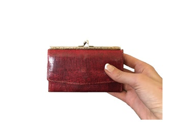 Vintage Red Leather Wallet - Women's Small Bi Fold Wallet - Thin Slim Wallet - Hollywood Glam - WAL-12