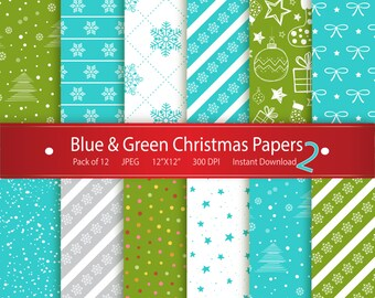 Christmas Digital Paper: Blue & Green Christmas Papers 2 Instant Download Printable Scrapbooking Collection - Stars Snowflakes Xmas Tree