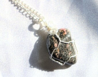 Rhodonite Stone Crystal Wire Wrapped Pendant