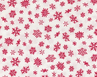 Elf on the Shelf - Per Yd - Quilting Treasures - Snowflakes on White