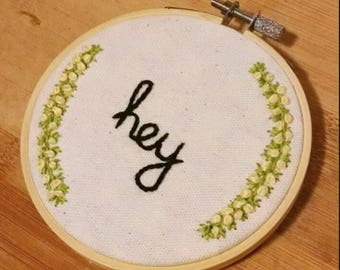 Handmade Embroidery Artwork, Hey Hello, Hand Stitched Fiber Art, Embroidery Art Hoop, 4 Inch, Black Script Letters, Yellow Flowers
