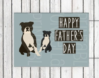 Printable Father's Day card - instant download and print - Staffordshire bull terriers printable father's day card