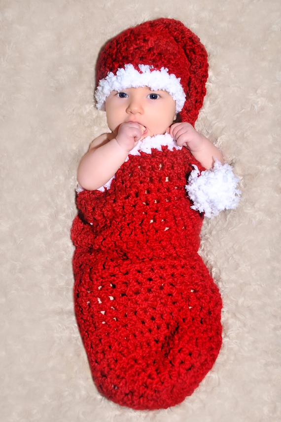 CROCHET PATTERN Santa Baby Cocoon and Matching Sleeper Hat