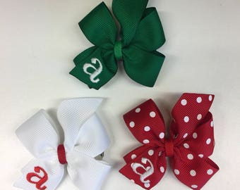 Set of 3, Infant Monogram, Hair Bows, Christmas Holiday, Hairbows, Gift Set, Bow Hair, Toddler Small, Bitty Clips, Ribbons Barrettes, Gifts