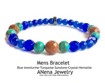 HOPE Mens Bracelet By ANena Jewelry : Blue Aventurine, Turquoise, Sunstone, Crystal and Hematite