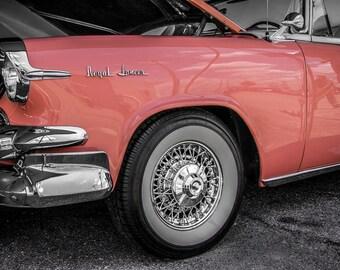 1955 Dodge Royal Lancer PINK Car Photography, Automotive, Auto Dealer, Muscle, Sports Car, Mechanic, Boys Room, Garage, Dealership Art