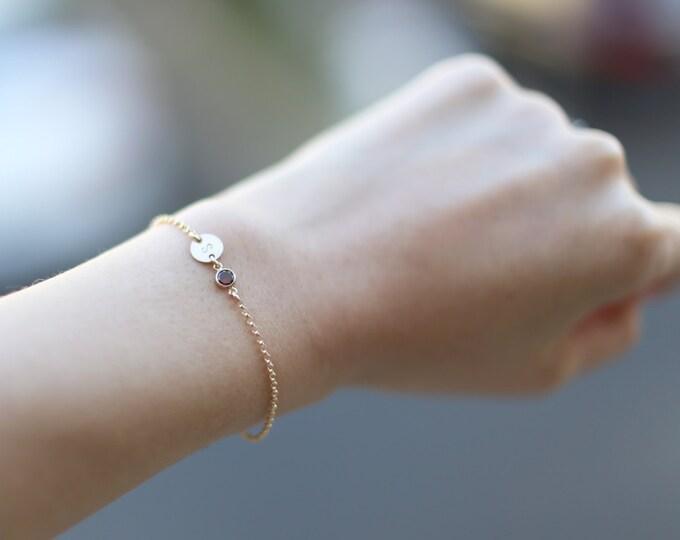 Personalized Initial Disc Bracelet with Garnet CZ / January Birthstone Bracelet Gift //January Birthday Gift for Her