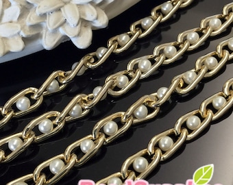 FN-CH-02008 - Nickel Free, gold plated, Curb chain with faux pearl, 1 meter