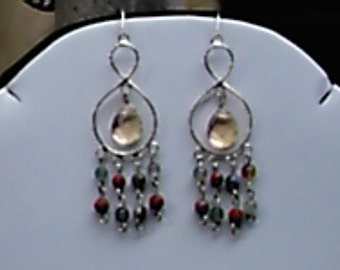 Multi Gemstone, and Sterling Silver Chandelier Earrings,All Natural Gemstones, OOAK